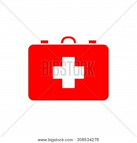 Flat Minimal First Aid Kit Icon. Simple Vector First Aid Kit Icon. Isolated First Aid Kit Icon For V