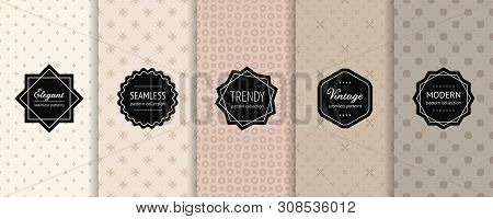 Vector Minimalist Geometric Seamless Patterns Collection. Set Of Minimal Abstract Background Swatche