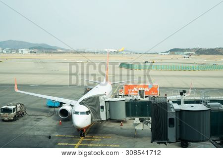 Seoul, Korea - February 18,2018: Jeju Air Airlines With Winglets, Air Transportation Travel, Airplan
