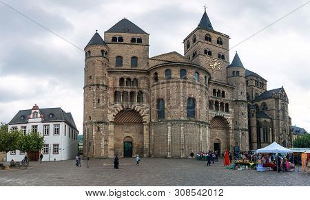 Trier, Germany- September 29: People In Front Of Cathedral Of Saint Peter  In Trier, Germany, On Sep