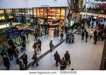 Nuremberg, Germany - March 25 : Commuters In Central Railway Station On March 25, 2013 In Nuremberg,