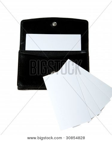 The Case For Business Cards Isolated On A White Background.