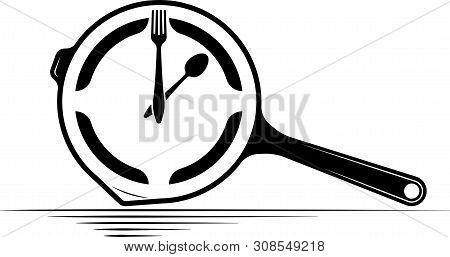 Logo Of A Cafe Or Restaurant. Emblem For Menu Or Advertising. Clock In The Form Of A Griddle With A