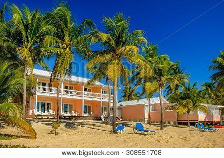 Little Cayman, Cayman Islands, Nov 2018,  Little Cayman Beach Resort Buildings On South Hole Sound