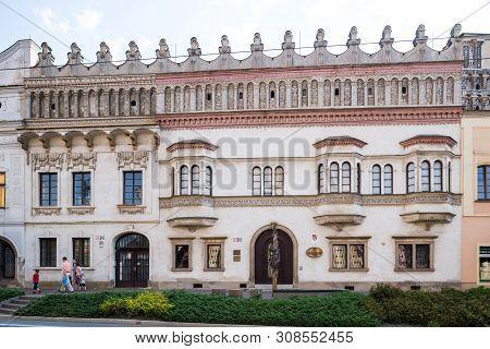 Presov, Slovakia. 09 August 2015. One Of The Oldest Tenement Houses In Presov. Renaissance Rakoczi P