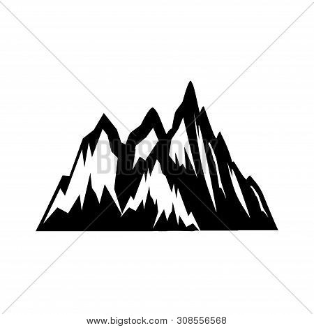 Mountain Top Black Silhouette With Snowy Peak, Mountain Logo, Hills Logo, Mountain Symbol, Mountain