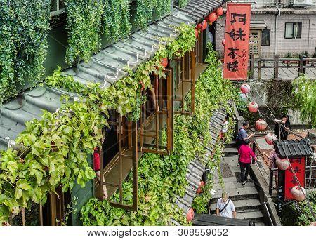 Taiwan,taipei-04 Sep 2017: Taiwan Jiufen Village Old Wood Building View