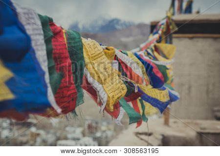 Leh, India : April 2019 - Buddhist Tibetan Prayer Flag Colorful Flag Different In Five Color Differe