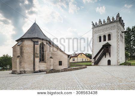Strazky, Slovakia. 10 August 2015. Strazky Castle Tower And Church