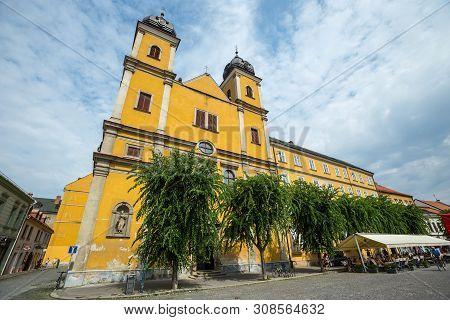 Church St. Francis Xaversky. Slovakia. 03 August 2015. Facade Of Church Of St. Francis Xaversky
