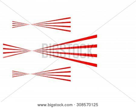 Abstract illustration of three red lines with a twist unbalanced and duplicated with two smaller ones on a brilliant white background. poster