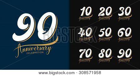 Set Of Anniversary Logotype. Premium  Anniversary Celebration Emblem Design For Company Profile, Boo