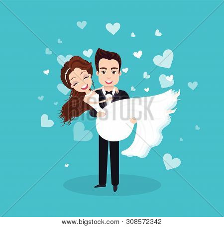 Couple In Love On Wedding Day Vector, Bride And Groom Cuddling, Male Holding Woman Newlywed People H