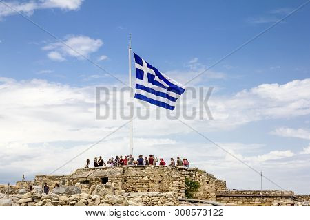Athens.greece.may 31, 2019. The Greek Flag Flutters On The Acropolis Hill In Athens In Greece.