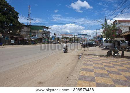 Poi Pet, Cambodia -  July 13: Road Near The Cambodia-thailand Border Crossing On July 13, 2012 In Po