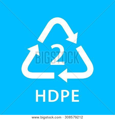 Recycle Arrow Triangle Hdpe Types 2 Isolated On Blue Background, Symbology Two Type Logo Of Plastic