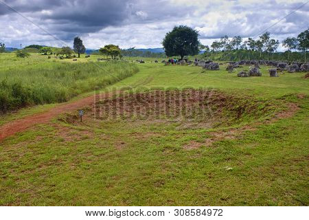 Bomb Crater At Plain Of Jars, Phonsavan, Laos.
