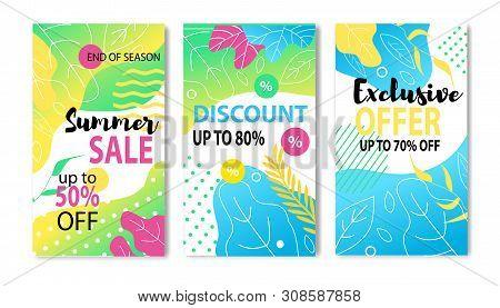 Big Summer Price Fall Social Media Post And Flyer Set. Vector Flat Illustration Lettering Sales Up T
