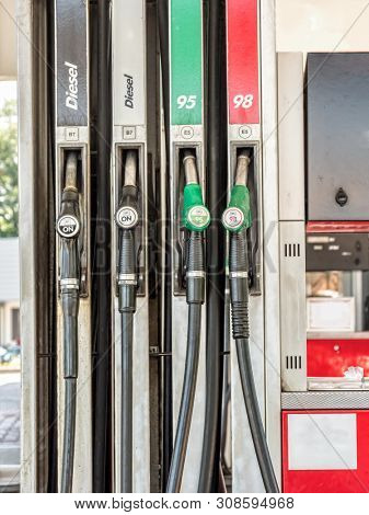 Petrol station pumps with diesel, unleaded 95 and 98 fuel distributor