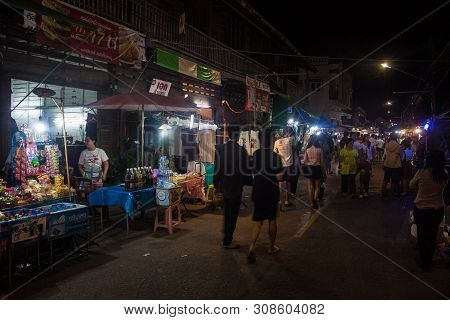 Lampang, Thailand -august 17 : People Stroll At A Market On Agust 17, 2013 In Lampang, Thailand. Lam