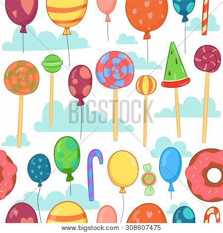 Children Holiday Pattern. Birthday Background For Card Design, Banner, Poster, Web Site. Holiday Bac