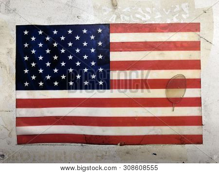 American Flag Decal On A Wall Of A Building In Downtown Los Angeles With The Message Of Brotherhood