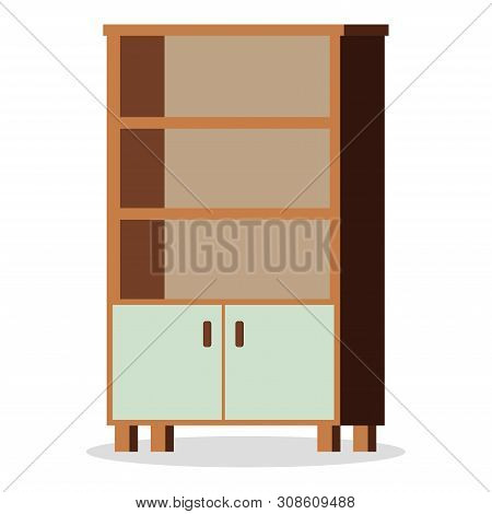 Image Of Isolated On White Background Element Of Furniture - Empty Office Or Home Cupboard Icon. Fla
