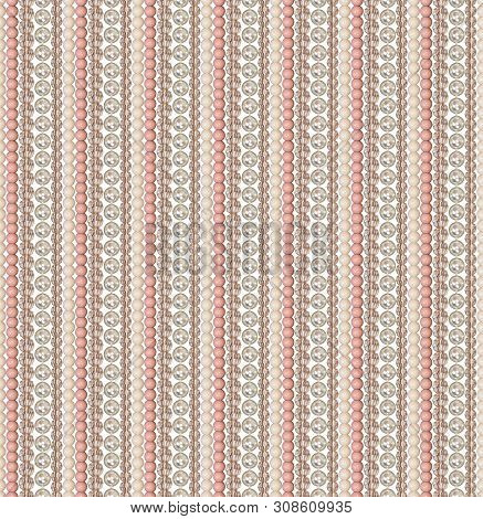 Seamless Pattern Of Different Beads. Pearl, Glass, Acrylic Beads. Beads Are Located Vertically Strai