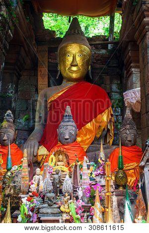 Buddha Statue In Wat Phu Champasak Temple In Laos
