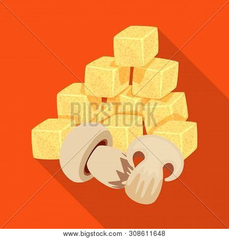 Vector Design Of Croutons And Mushroom Logo. Set Of Croutons And Snack Stock Symbol For Web.
