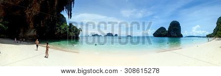 Railay. Thailand - September 4: Tourists On A Hat Phra Nang Beach Near Krabi, Thailand On September