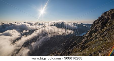 Mengusovska Valley With Inversion As Seen From Rysy Peak In High Tatras, Slovakia