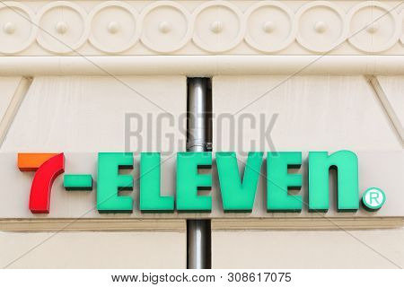 Copenhagen, Denmark - June 9, 2019: 7 Eleven Logo On A Wall. 7-eleven Is An International Chain Of C