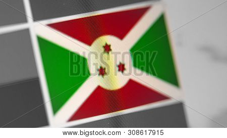 Burundi National Flag Of Country. Burundi Flag On The Display, A Digital Moire Effect. News Of Geogr