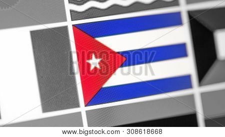 Cuba National Flag Of Country. Cuba Flag On The Display, A Digital Moire Effect. News Of Geography A
