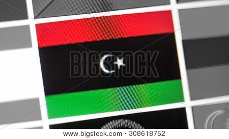 Libya National Flag Of Country. Libya Flag On The Display, A Digital Moire Effect. News Of Geography