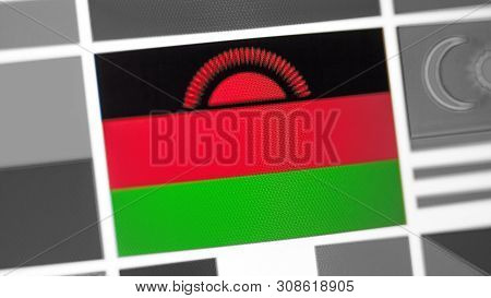 Malawi National Flag Of Country. Malawi Flag On The Display, A Digital Moire Effect. News Of Geograp
