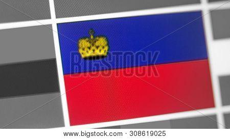 Liechtenstein National Flag Of Country. Liechtenstein Flag On The Display, A Digital Moire Effect. N