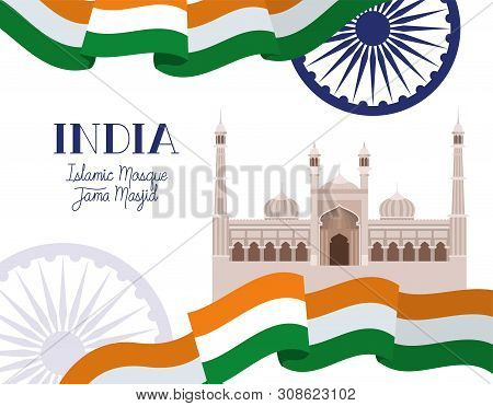 Indian Jama Masjid Temple With Flag Vector Illustration Design