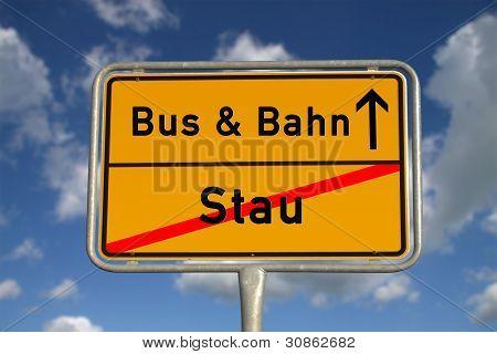 German Road Sign Traffic Jam And Public Transport