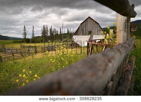 Weathered Ranch Barn Nicola Valley British Columbia. An Old, Weathered Barn In The Nicola Valley, Br
