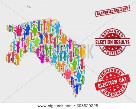 Election Groningen Province Map And Watermarks. Red Rectangle Classified Delivery Grunge Seal. Brigh