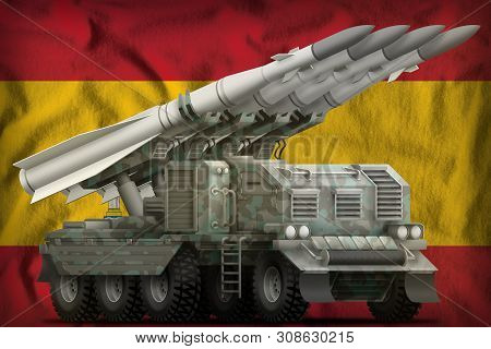 Tactical Short Range Ballistic Missile With Arctic Camouflage On The Spain Flag Background. 3d Illus