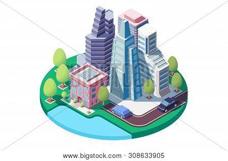3d Isometric City Landscape With Street, Urban Park, Skyscrapers. Concept Modern Building Architectu