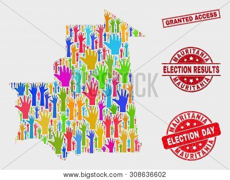 Ballot Mauritania Map And Watermarks. Red Rectangle Granted Access Distress Seal. Colored Mauritania