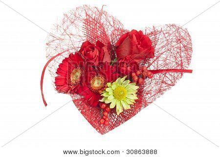 Heart Flowers Over White