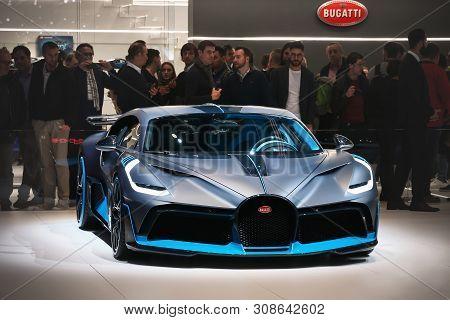 Geneva, Switzerland - March 11, 2019: Luxury Hypercar Bugatti Divo Presented At The Annual Geneva In