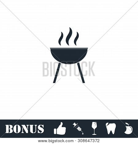 Roaster Bbq Icon Flat. Vector Illustration Symbol And Bonus Pictogram