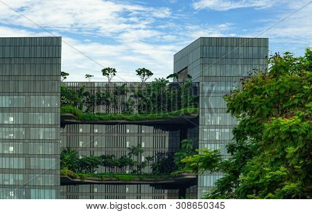 Singapore-may 20, 2019 : Eco Friendly Building With Vertical Garden In Modern City. Green Tree Fores