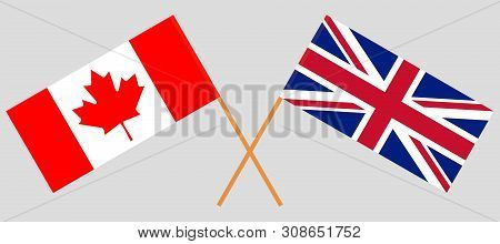 The UK and Canada. British and Canadian flags. Official colors. Correct proportion. Vector illustration poster